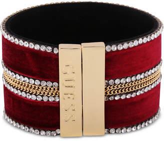 GUESS Crystal & Link Chain Velvet Wrap Bracelet