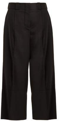 Marni Cropped Wide Leg Wool Twill Trousers - Womens - Black