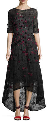 Rickie Freeman For Teri Jon Elbow-Sleeve High-Low Lace 3-D Velvet Floral Cocktail Dress