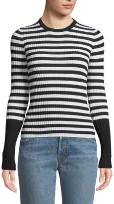ATM Anthony Thomas Melillo Striped Wool Ribbed Crewneck Sweater
