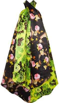 Richard Quinn - Asymmetric Floral-print Satin Halterneck Midi Dress - Bright green
