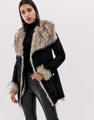 3288b9cd5174 Lipsy bonded faux fur wrap jacket in black