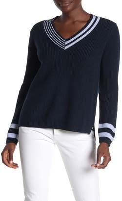 525 America Varsity Striped V-Neck Sweater