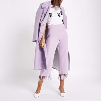 River Island Womens Lilac Purple tassel hem crop trousers