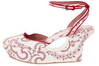Alaia Canvas Printed Platform Wedges