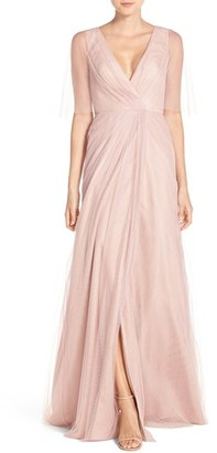 Women's Monique Lhuillier Bridesmaids Sheer Capelet V-Neck Tulle A-Line Gown $280 thestylecure.com