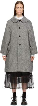 Comme des Garcons Grey Tweed Round Collar Coat