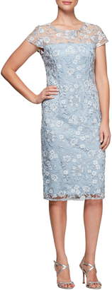Alex Evenings Floral Embroidered Shift Dress