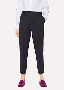 Paul Smith A Suit To Travel In - Women's Tailored-Fit Dark Navy Wool Double-Pleat Trousers