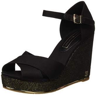 e1c84838218f Tommy Hilfiger Women s Feminine Wedge Sandal Basic Platform (Black 990)
