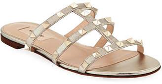 Valentino Rockstud Leather Flat Slide Sandal
