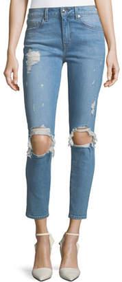 Derek Lam 10 Crosby Devi Distressed Mid-Rise Skinny Ankle Jeans