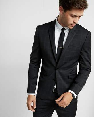 Express Extra Slim Black Windowpane Wool Blend Suit Jacket