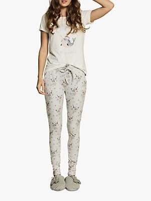 Fat Face Narwhal Pyjama Set, Grey
