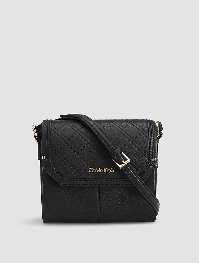 Calvin Klein Pebble Leather Quilted Crossbody Bag