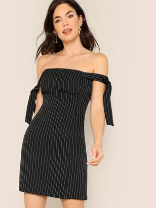 Shein Bow Tie Detail Striped Off Shoulder Dress