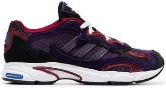 adidas purple Temper Run suede and mesh sneakers