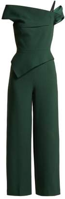 Roland Mouret Gable Peplum Wool Crepe Jumpsuit - Womens - Green