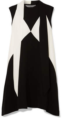 Givenchy Oversized Pussy-bow Two-tone Crepe Mini Dress - Black