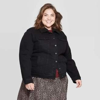 Universal Thread Women's Plus Size Sherpa Collared Denim Jacket Black