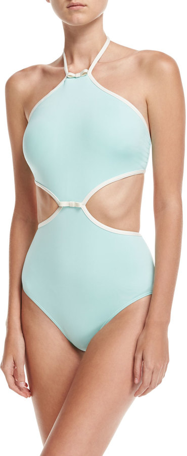 Kate Spade New York Plage Du Midi Cutout One-Piece Swimsuit, Adventure Blue