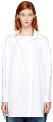 Y's Ys White O-Front Drape Shirt