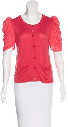 Sandro Silk-Blend Short Sleeve Cardigan $65 thestylecure.com