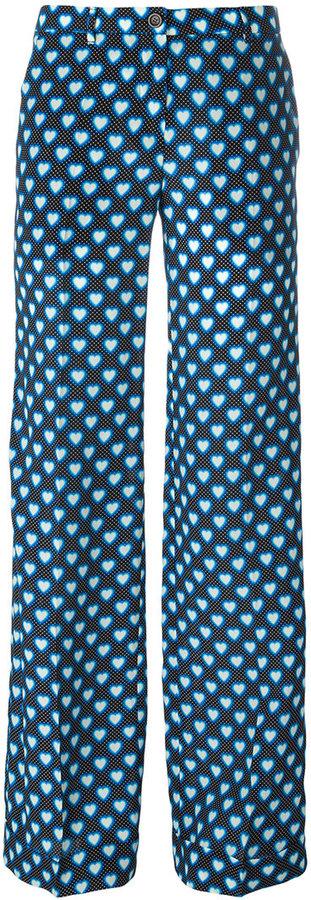 Miu MiuMiu Miu hearts print flared pants
