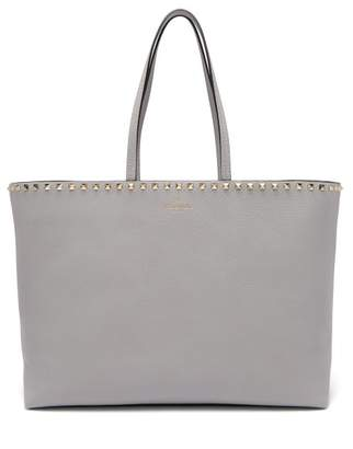 Valentino Rockstud Leather Tote Bag - Womens - Light Grey