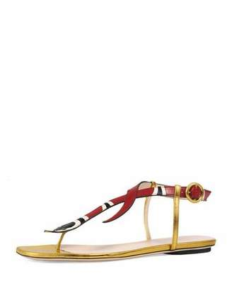 Gucci Yoko Snake-Print T-Strap Sandal, Red/Gold $695 thestylecure.com