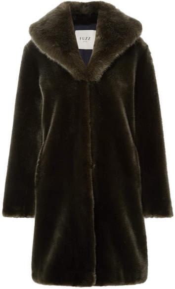 Fuzz Not Fur - Dark Knight Faux Fur Coat - Dark green