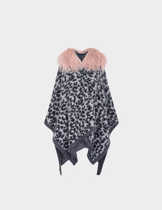 Elgin Hayley Menzies Leopard Shearling poncho