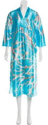 Oscar de la Renta Floral Print Satin Nightgown