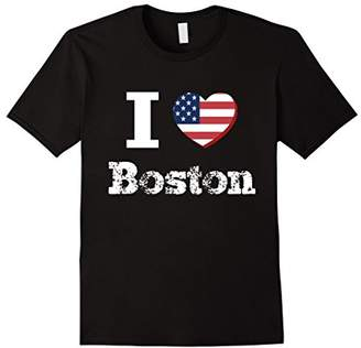 I Heart Love Boston Patriotic Distressed Vintage T-Shirt