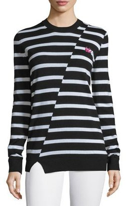 McQ Alexander McQueen Striped Wool Crewneck Sweater, Black/White $375 thestylecure.com