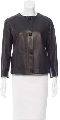 Hermes Leather Crew Neck Jacket