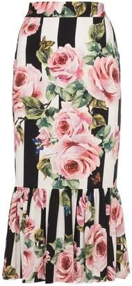 Dolce & Gabbana Midi Rose Print Skirt