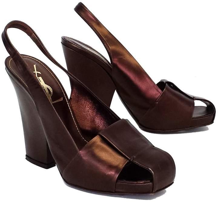 Yves Saint Laurent Bronze Leather Slingback Heels