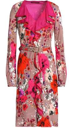 Roberto Cavalli Belted Ruffle-Trimmed Floral-Print Crepe Dress