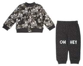 Chick Pea Baby Boy's Two-Piece Cotton Camouflage Bomber Jacket Pants Set