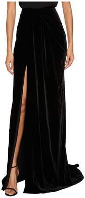 Marchesa Draped Velvet Sarong Skirt