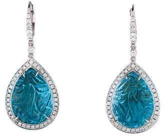 Rina Limor Fine Jewelry 18K Carved Blue Topaz & Diamond Drop Earrings