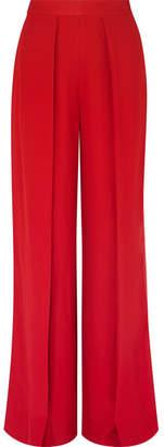 Kiki de Montparnasse Satin-trimmed Crepe Wide-leg Pants - Red