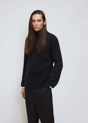 Deveaux Cashmere-Silk Panel Turtleneck