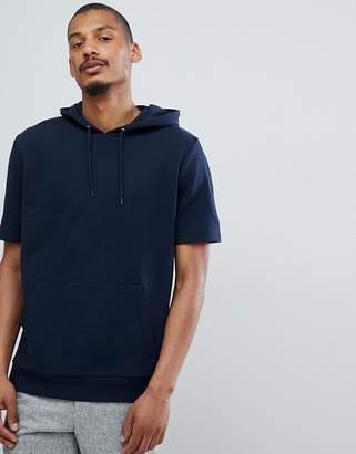 Asos Design DESIGN hoodie in navy with short sleeves