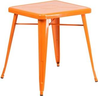Ebern Designs Ebern Designs Orange Metal Indoor-Outdoor Table Set With 2 Arm Chairs Ebern Designs