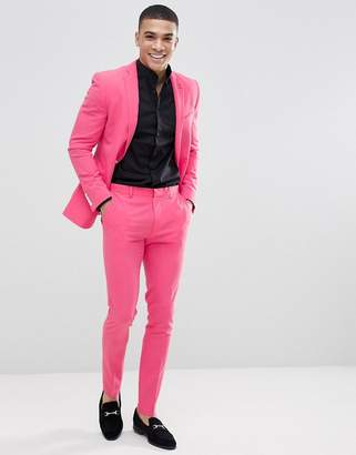 Asos Design Super Skinny Suit Pants In Pink Lemonade