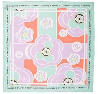 Chanel Camellia Silk Chiffon Scarf