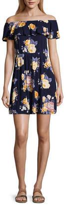 Arizona Short Sleeve Stripe A-Line Dress-Juniors