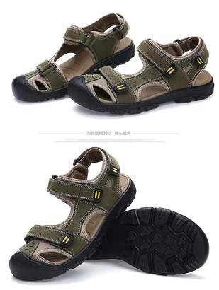 66c67e8bd94d Lijeer Athletic Slides Sandals Sport Men s Summer Casual Fisherman Beach  Leather Hiking Closed Toe Velcro Anti